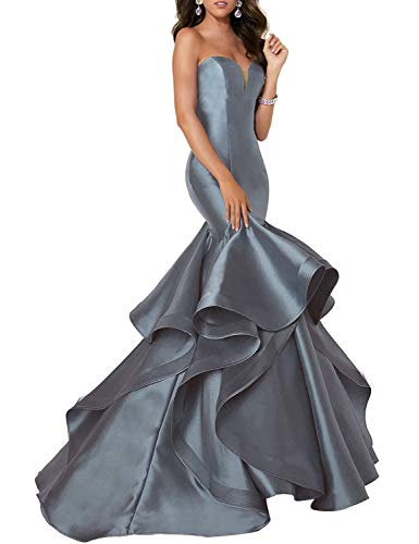 - Scarisee Women's Sweetheart Mermaid Prom Evening Dresses Tiered Formal Celebrity Party Gowns Sweep Train Gray 16
