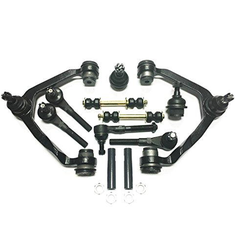 PartsW 12 Piece Complete Front Suspension Kit For Ford & Lincoln Upper Control Arms, Inner & Outer Tie Rod Ends, adjusting Sleeves, Lower Ball Joints, and Sway Bar links ONLY FOR 4WD VEHICLES