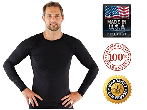 Rash Guard for Men Compression and Base Layer Shirt, Black, Large - Lycra Long Sleeve Rash Guard