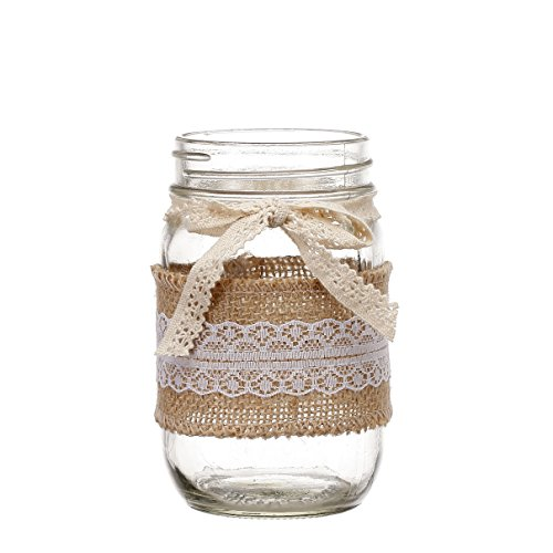 V-More Rustic Mason Jar Flower Vase Glass Candle Holder with Burlap Lace Rap and Lace Bowknot 5-inch Tall for Home Decor Wedding Party and Celebration (Set of -