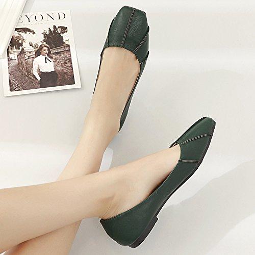 Xue Xue Xue Qiqi Court Schuhe Quadratische Flache Flache Pumpen Einfache Flache mit einzelnen Schuhen Die Vier Schuhe der Frauen beiläufige Schuhe der Schuh-Frauen 36 grün ad87e9