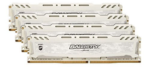 Ballistix Sport LT 64GB Kit (16GBx4) DDR4 2666 MT/s (PC4-21300) DR x8 DIMM 288-Pin - BLS4K16G4D26BFSC (White)