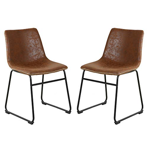 LSSBOUGHT Vintage Dining Chairs with PU Leather, Set of 2, Brown (Chairs Room Dining Vintage)