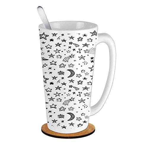 - Stars and Crescent Moon Heavenly Bodies Sketch Space Cosmos,Black White;Ceramic Cup with Spoon & Round wooden coaster Milk Coffee Tea Mug 16oz gifts for family