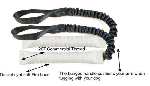 "Bundle of 2 White Fire Hose Bungee Tug Toy 1"" x 8"" - Redline"