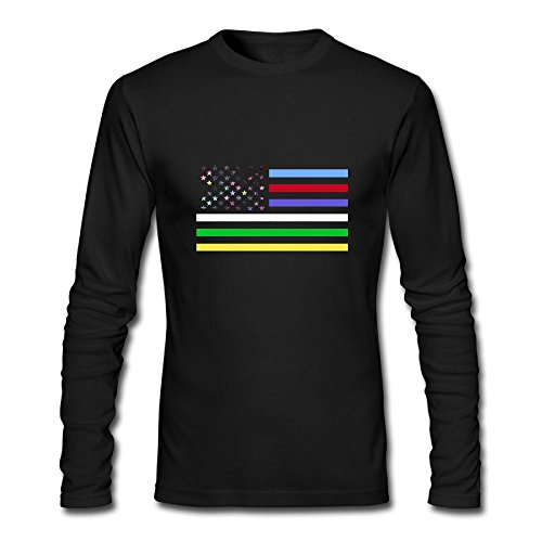 Men's Thin Colorful Line American Flag Long Sleeve Athletic Cotton Round Neck - Africa Clothing Versace South