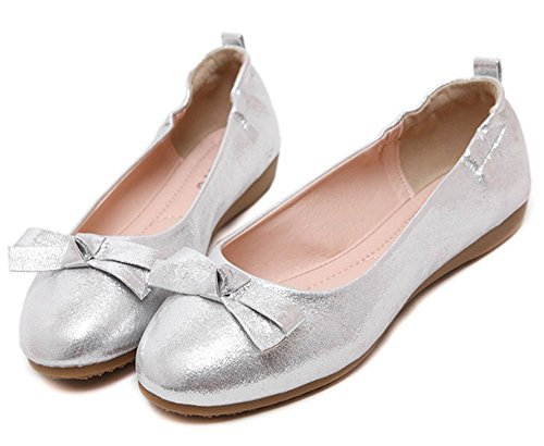 Plaid&Plain Womens Bowknot Round Toe Sweet Slip On Preppy Pumps Flats Shoes Silver Hv0kTBMXeE