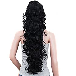 "S-ssoy 31""(78cm) Women's Curly Pony Tail Hair Piece Synthetic Claw Clip Ponytail Wavy Long Curled in Hair Extension Extensions Long/Voluminous Wig Hairpieces for Women Girls Lady, 1B#"