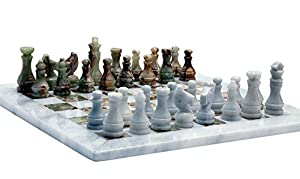 RADICAL Handmade White and Green Onyx Marble Full Chess Game Original Marble Chess Set
