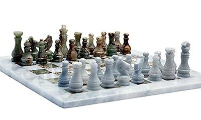 RADICALn Handmade White and Green Onyx Marble Full Chess Game Original Marble Chess Set