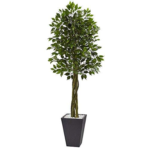 Nearly Natural 5948 6.5ft. Ficus Artificial Slate Planter, UV Resistant (Indoor/Outdoor) Silk Trees Green