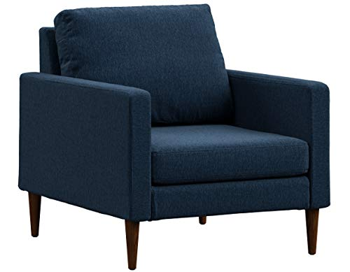 - Campaign Steel Frame Brushed Weave Accent Chair, 33 Inches, Midnight Navy with Mahogany Stained Solid Oak Legs