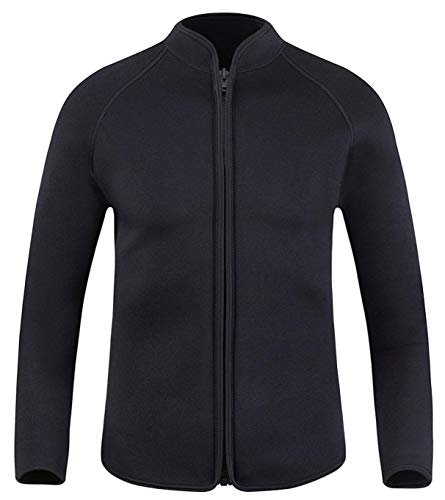 EYCE Dive & SAIL Mens 3mm Wetsuit Jacket Top Long Sleeve Neoprene Wetsuits (Simple Black, Medium)