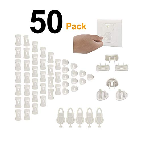 50-Pack Baby Outlet Plug Covers Childproof Socket Covers Safe & Secure - Tifanso Plug Caps Electrical Protector for Home Office Toddlers & Babies