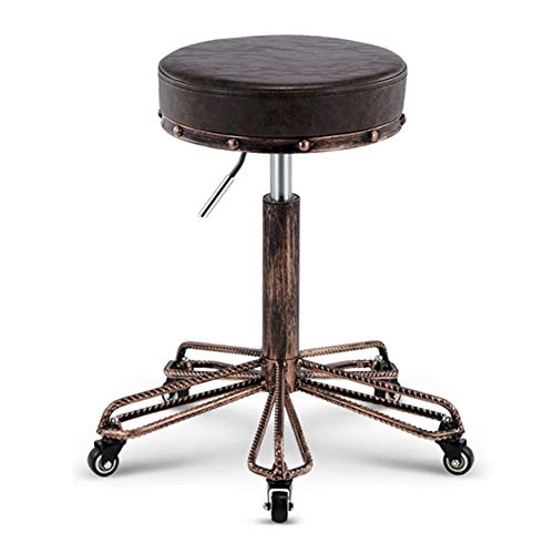 (WEIYV- Chairs,Swivel Chairs, Hairdresser Chair Work Bench Bar Stool Beauty Stool Lifting Rotate Pulley Round Stool (Color : Tiger Skin 51-65cm, Size : A))