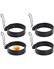 Egg Rings for Frying Eggs - Stainless Steel Non Stick Metal Circle Egg Mold, Egg Rings for Egg mcmuffins, 4 Pack Xhwykzz