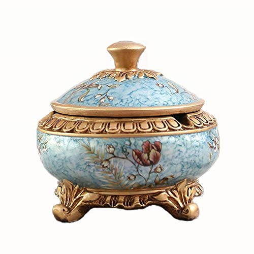 Ashtray, Cigarette Cylinder Cigar Cylinder, Vintage Resin Household Portable Desktop Crafts Smoking Canister Suitable for Office Living Room (Color : Blue) ()