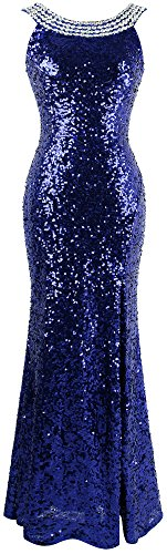 Angel-fashions Women's Round Neck Beading Sequin Backless Slit Party Dress Large,Blue