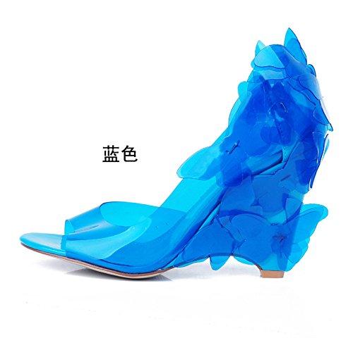 Bleu Sandales femme nouveaux produits beaux papillons dîner de l'élégance des chaussures de talon le tempérament et la pente avec une dame de service. US10.5   EU42   UK8.5   CN43