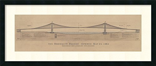 Framed Art Print, 'Brooklyn Bridge' by Craig S. Holmes: Outer Size 40 x 17