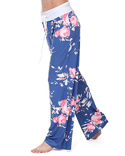 GAMISS Women's Casual Wide Leg Pajama Pants Floral Print Comfy Drawstring High Waist Yoga Lounge Palazzo (Blue Womens Sleep Pant)
