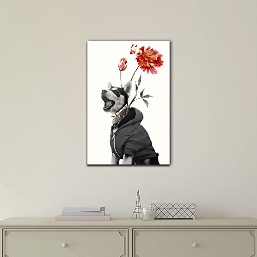 Abstract Art of a Husky Dog and Flowers