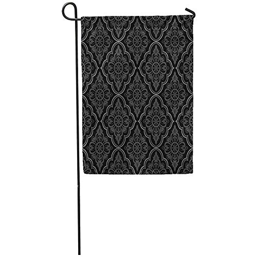 (Staroutah Garden Flag 12x18 Inches Print On Two Side Polyester Baroque Black Damask Vintage Floral Pattern Grey Scroll Antique Contemporary Home Yard Farm Fade Resistant Outdoor House Decor Flag)