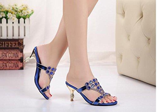 GTVERNH-L'Estate Di Moda Pantofole Dolce E Bella Tacchi Tacchi Alti Fico Pantofole Acqua Esercitazione Scarpe 40 Blu