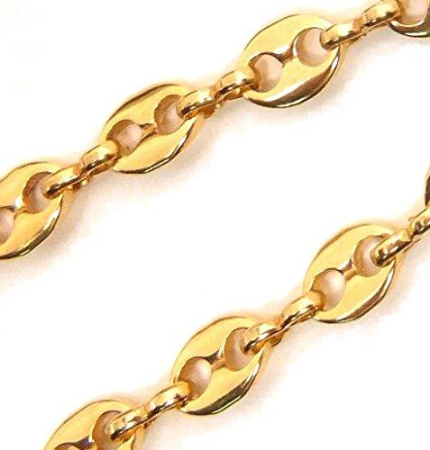 Collier Chaine Grain de Café, Or Doublé 10/000, largueur 5,6mm, longeur sélectionnable, femme homme collier bijoux cadeaux de italien usine tendenze