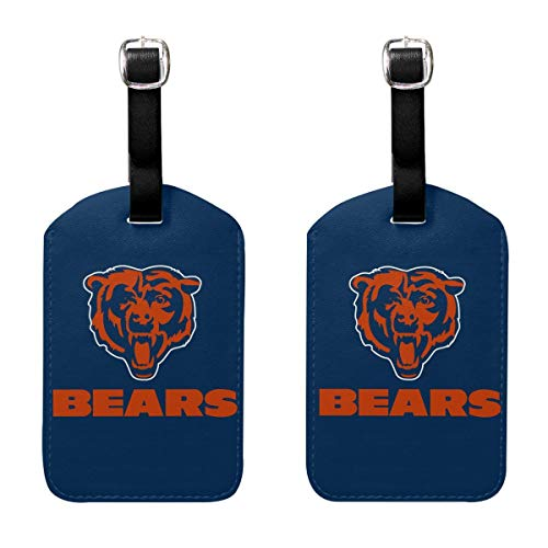 MamaTina Custom PU Leather Luggage Tag Chicago Bears Suitcase Labels ID Tags 2 Pcs Set for Bags & Baggage ()