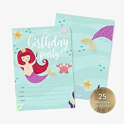 25 invitaciones de fiesta de cumpleaños de sirena y sobres ...