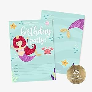 Amazon.com: 25 invitaciones de cumpleaños de sirena y sobres ...