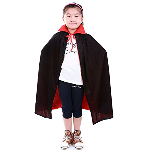 Kangkang@ Vampire Dracula Cloak Cape for Children Kid Halloween Party Cosplay Fancy Dress Costume 90cm Long Black Red Reversable -