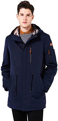 ICEbear Men's Waterproof Casual Anorak Coat Windproof Rain Parka Jacket Outdoor Windbreaker With Hooded Deep Blue L (Jacket Raincoat Clothes Parka)