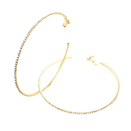 (4.25 in Goldtone Rhinestone Hoop Clip On/Non Pierced Earrings Accented with Clear Rhinestones)