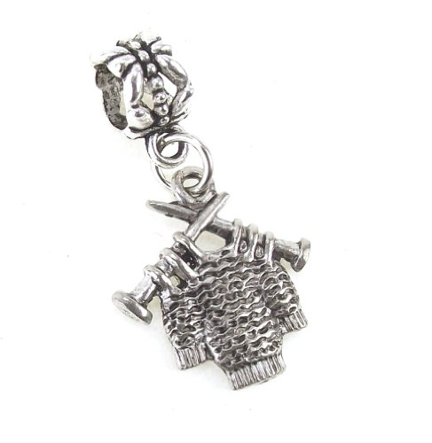 Antique Pewter 3D Knitting Sweater, Yarn Ball and Needles Dangle Charm Bead for Snake Chain Bracelets (Knitting - Needles Charm Knitting
