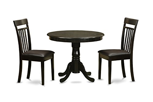 - East West Furniture ANCA3-CAP-LC 3-Piece Kitchen Table with Drop Leaf, Cappuccino Finish