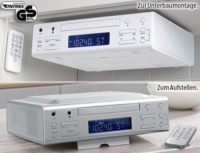Küchenradio mit CD Player Standfuß und als Unterbauradio verschiedene Farben, FM AM Radio mit Timer & Alarm Funktion (weiss)