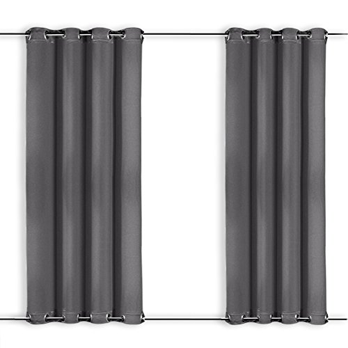 NICETOWN Patio Door Curtains Grey - Three Pass Microfiber Thermal Insulated Blackout Outdoor Indoor Window Curtain/Drape with Top and Bottom Ring (Single Piece,52 x 95 Inch Long, Gray) ()