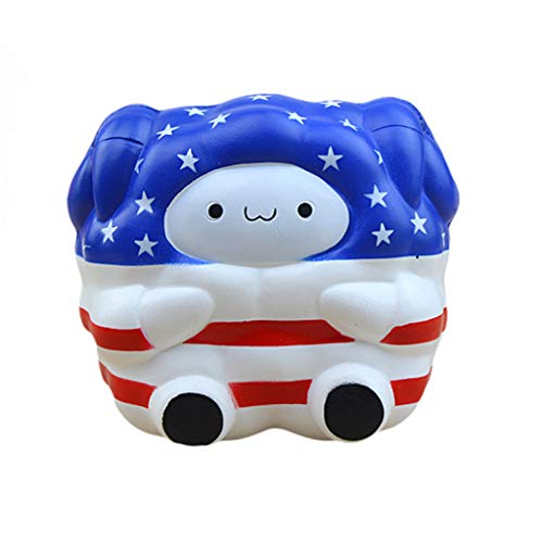 Mikilon Independence Day Jumbo Squishies Sheep Cute Slow Rising Scented Kawaii Lamb Squishies Animal Toy Dolls for Collection Gift USA Flag Print (Blue)