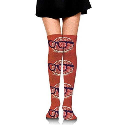 Nerds Glasses Brain Luxury Women's Long Socks Long Over Knee High Nursing Leisure - Glasses For Nerd Toddler