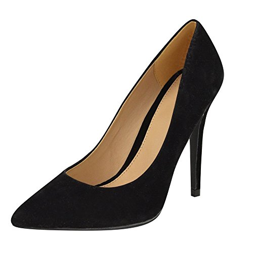 uBeauty Womens Court Shoes Closed Toe High Heels Pointed Toe Slender Stiletto Pumps Office Work, 10cm Black Suede Heel 10cm