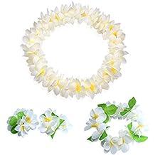 Vidillo Hawaiian Leis Jumbo Necklaces Bracelets Headband Set, Lei Hawaii Flowers Necklace Garland,Tropical Luau Flower Lei Garland for Luau Theme Summer Beach Party Costume Dress (White)