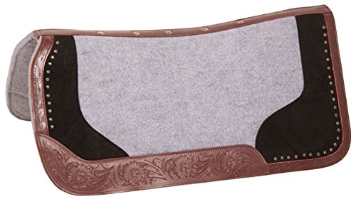 PERFECT FIT WESTERN LEATHER FELT HORSE SADDLE PAD THERAPEUTIC CONTOUR SHOCK GEL PAD BLANKET ORTHOPEDIC (Standard)