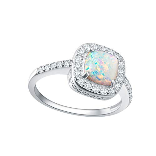 Fancime 925 Sterling Silver White Created Opal Halo Rings 14K Gold Plated Cubic Zirconia CZ Engagement Jewelry For Women Girls Size 7