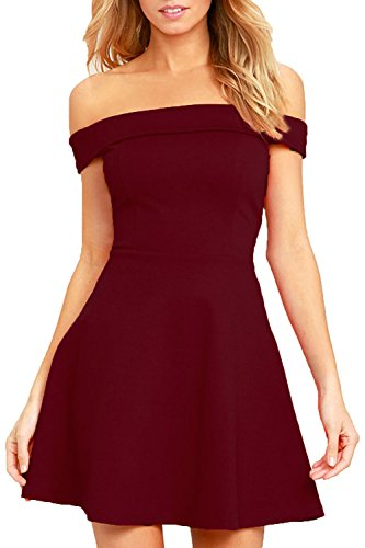 Zalalus Women's Fit and Flare A Line Dresses Off Shoulder Elegant Summer Casual Solid Cocktail Wedding Party Skater Dress Wine Red X-Small (Teens Weddings Dresses For For)