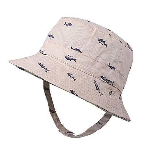Baby Sun Hat Boys Bucket Hat Toddler Floppy Hat UPF 50+ Wide Brim Chin Strap Summer Play Hat (Beige, M(1-2T))