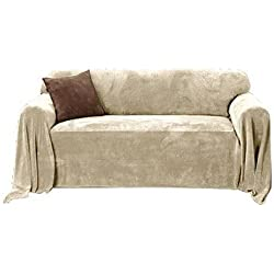 Sure Fit Plush Throw Hemmed Slipcover, Sofa 70-Inch by 170-Inch, Wheat