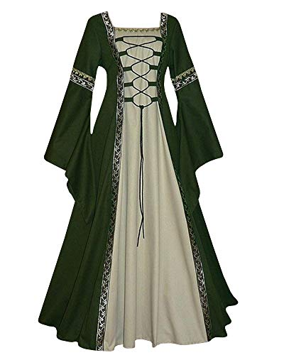 Celtic Clothing Medieval - Qianshan Maomo Womens Vintage Dresses Celtic Long Sleeve Medieval Maxi Dresses Renaissance Gothic Cosplay Dress Green