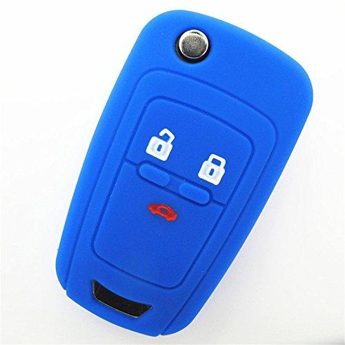 Hwota 3 Buttons Silicone Cover Holder Flip Remote Key Case for CHEVROLET Camaro Cruze Equinox Malibu Sonic Volt Spark -Blue